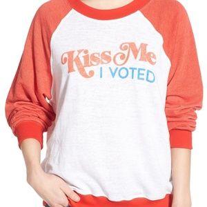 Wildfox Kiss Me I Voted Raglan Pullover Sweatshirt